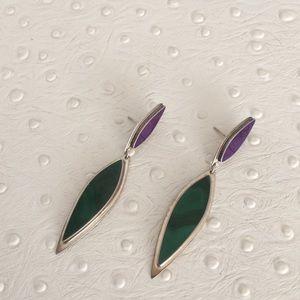 Jewelry - Amethyst & Malachite Sterling Drop Earrings